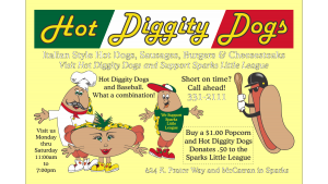 hHot Diggity Dogs Baseball Flyer